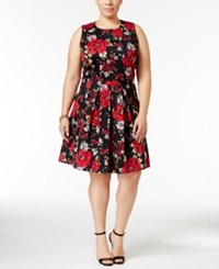 Charter Club Plus Size Floral Print Fit And Flare Dress Only At Macy's New Red Amore Combo