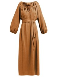 Loup Charmant Organic Cotton Gauze Midi Dress Brown
