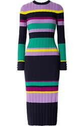 Lela Rose Color Block Ribbed Wool Blend Midi Dress Navy