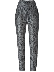 Balmain Straight Fit Paisley Trousers Grey