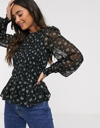 Miss Selfridge Mesh Blouse With Peplum Hem In Ditsy Floral Black