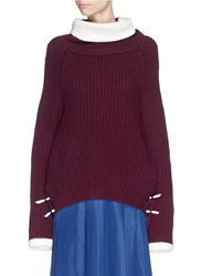 Toga Archives Contrast Trim Rib Knit Turtleneck Sweater Red