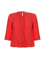 Yumi Lace Panel Top Red