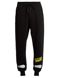 Off White Spray Paint Print Cotton Jersey Track Pants Black Multi