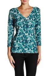 Laundry By Shelli Segal Winter Shadow Printed V Neck Sweater Green