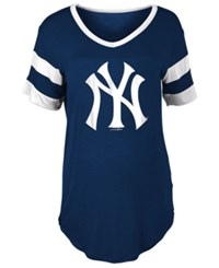 5Th And Ocean Women's New York Yankees Sleeve Stripe Relax T Shirt Navy White