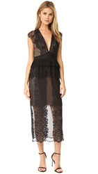 Three Floor Lace Affair Dress Black Nude