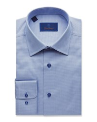 David Donahue Regular Fit Tonal Tic Dress Shirt Blue