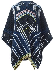 Peter Pilotto Geometric Knitted Coat Blue