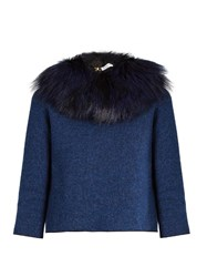 Sonia Rykiel Detachable Fox Fur Collar Tie Back Sweater Navy