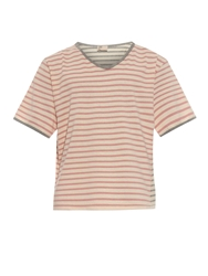 Thaddeus O'neil Striped V Neck Cotton T Shirt