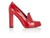 Saint Laurent Women's Patent Leather Loafer Pumps Red
