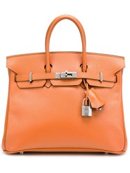 Hermes Vintage 'Birkin 25' Tote Yellow And Orange