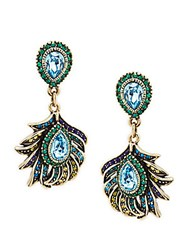 Heidi Daus Crystal Feather Drop Earrings Multi