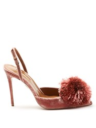 Aquazzura Powder Puff Velvet Pumps Pink