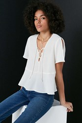 Kimchi And Blue Lucy Lace Up Babydoll Blouse Ivory