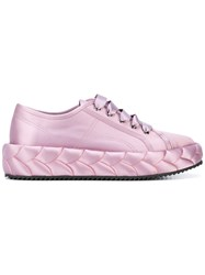 Marco De Vincenzo Raised Sole Sneakers Women Leather Polyester Rubber 37 Pink Purple