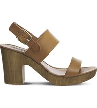 Office Michelle Wood Leather Sandals Tan Leather