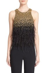 Badgley Mischka Couture. Women's Couture Feather Embellished Beaded Sleeveless Top