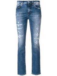 Department 5 Faded Distressed Cropped Jeans Blue