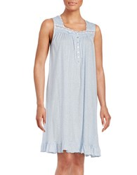 Eileen West Dotted Cotton Nightgown Blue