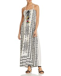 Surf Gypsy Long Medallion Dress Swim Cover Up Ivory Black