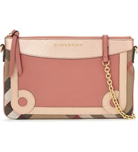 Burberry Peyton Leather And House Check Clutch Copper Pink