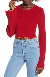 The Fifth Label Headquarters Knit Crop Top Raspberry Mustard