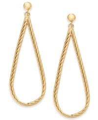 Macy's Textured Teardrop Drop Earrings In 14K Gold Yellow Gold