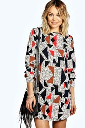 Boohoo Geo Print Long Sleeve Shift Dress Multi