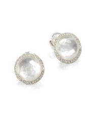 Ippolita Stella Mother Of Pearl Clear Quartz Diamond And Sterling Silver Doublet Stud Earrings