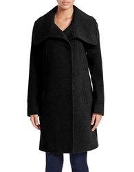Anne Klein Oversized Collar Wool Blend Coat Black