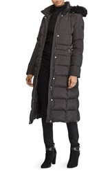 Lauren Ralph Lauren Long Down Coat With Faux Fur Trim Black