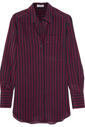 Sonia Rykiel Striped Silk Crepe De Chine Shirt Midnight Blue