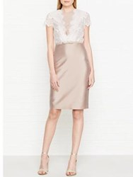 Hobbs Viv Lace Detail Dress Oyster