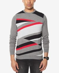 Sean John Men's Intarsia Knit Sweater Red Combo