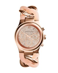 Mini Rose Golden Stainless Steel Runway Glitz Twist Watch Michael Kors Rose Gold Blush