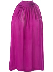 Barbara Bui Gathered Neck Halter Neck Top Pink And Purple