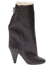 Isabel Marant Lakfee Shearling Lined Leather Boots Black