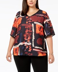 Joseph A Plus Size Printed V Neck Top Times Square Burgundy