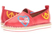 Love Moschino Cut Out Logo Espadrille Red