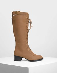 Charles And Keith Laced Up Knee Boots Cognac