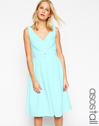 Asos Tall 50'S Belted Prom Dress Blue