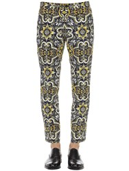 Dolce And Gabbana 17Cm Maiolica Print Stretch Cotton Pants Multicolor