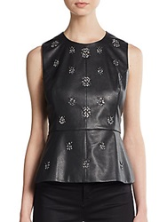 Bcbgmaxazria Beatrice Embellished Faux Leather Peplum Top Black