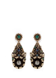 Miriam Haskell Foliage And Insect Applique Drop Earrings Metallic