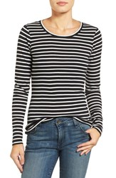 Caslonr Petite Women's Caslon Long Sleeve Scoop Neck Cotton Tee Black Ivory Stripe