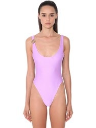 Fausto Puglisi Bicolor Lycra One Piece Swimsuit Purple