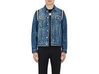 Givenchy Men's Knit Inset Distressed Denim Jacket Blue Black White