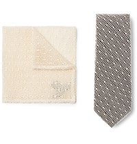 Marwood Cotton Lace And Silk Twill Tie And Pocket Square Set Black